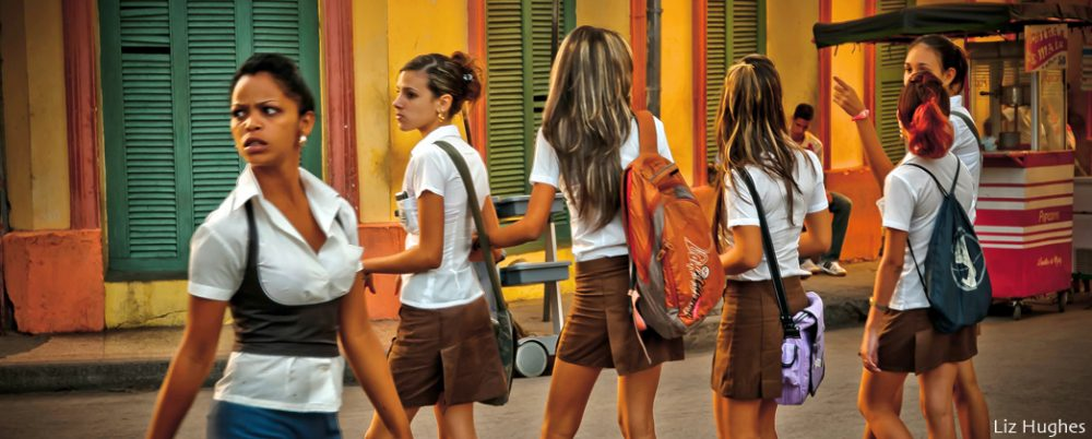 Girls going to school while photographing Cuba.